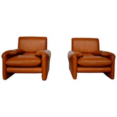 Set Sofa One Place in Cognac Leather, Italy 1970