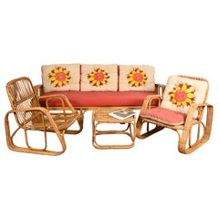 Set Sofa Two Armchairs and Coffee Table Rattan Bamboo Midcentury, Italy, 1960s