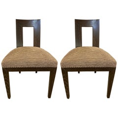Set Ten Donghia 'Margarita' Design Dining Chairs Pickled Oak, Labeled Donghia