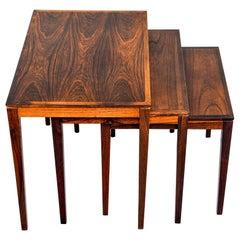 Set of Three Midcentury Danish Bent Silbert Rosewood Nesting Tables