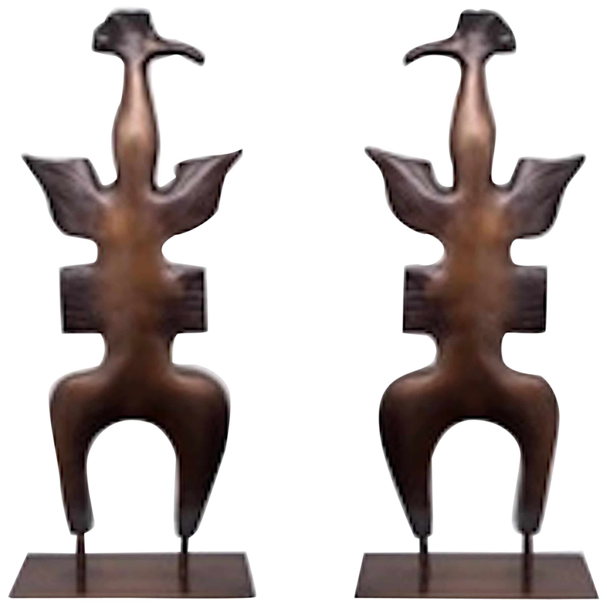 Set 'Totem Birds' Bronze Sculptures