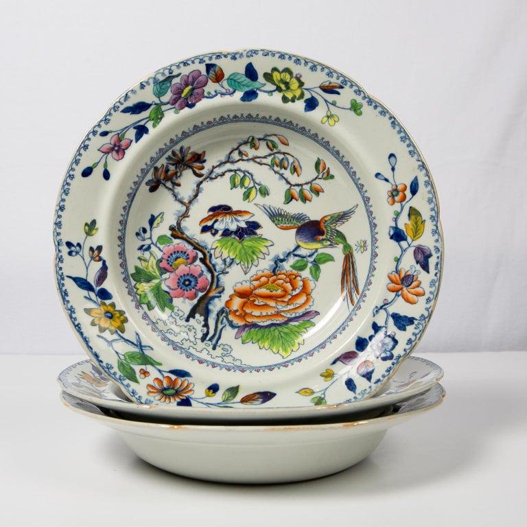 Set of Twelve Antique Dishes Flying Bird Pattern For Sale 3