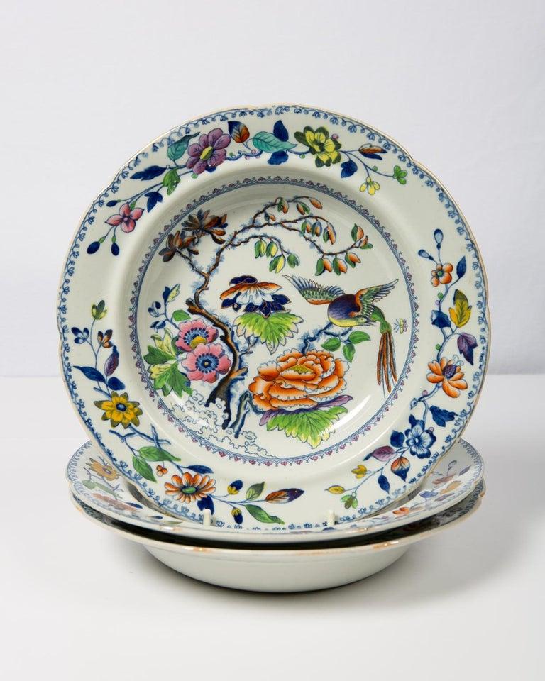 Set of Twelve Antique Dishes Flying Bird Pattern For Sale 4