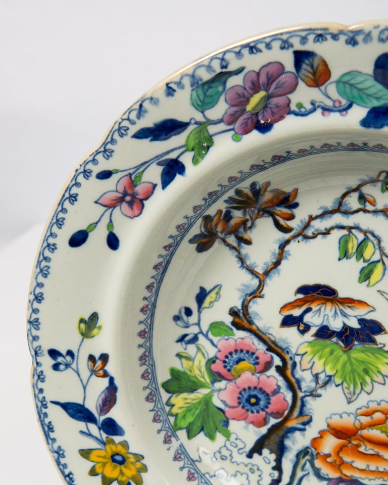 English Set of Twelve Antique Dishes Flying Bird Pattern For Sale