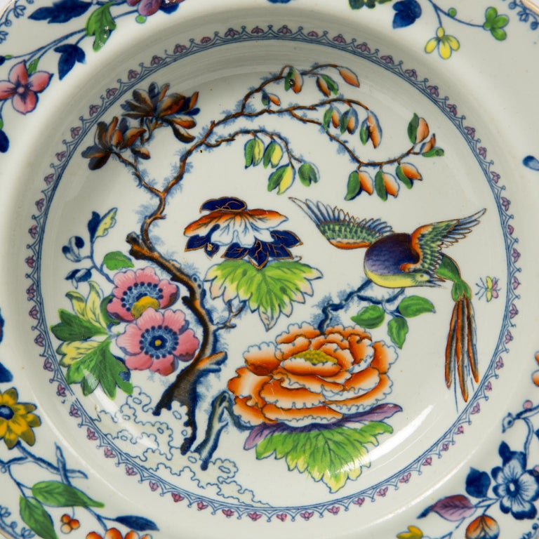 Set of Twelve Antique Dishes Flying Bird Pattern In Excellent Condition For Sale In New York, NY