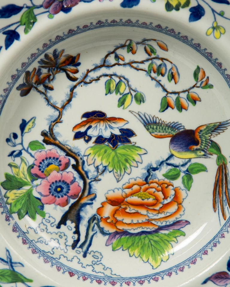 19th Century Set of Twelve Antique Dishes Flying Bird Pattern For Sale