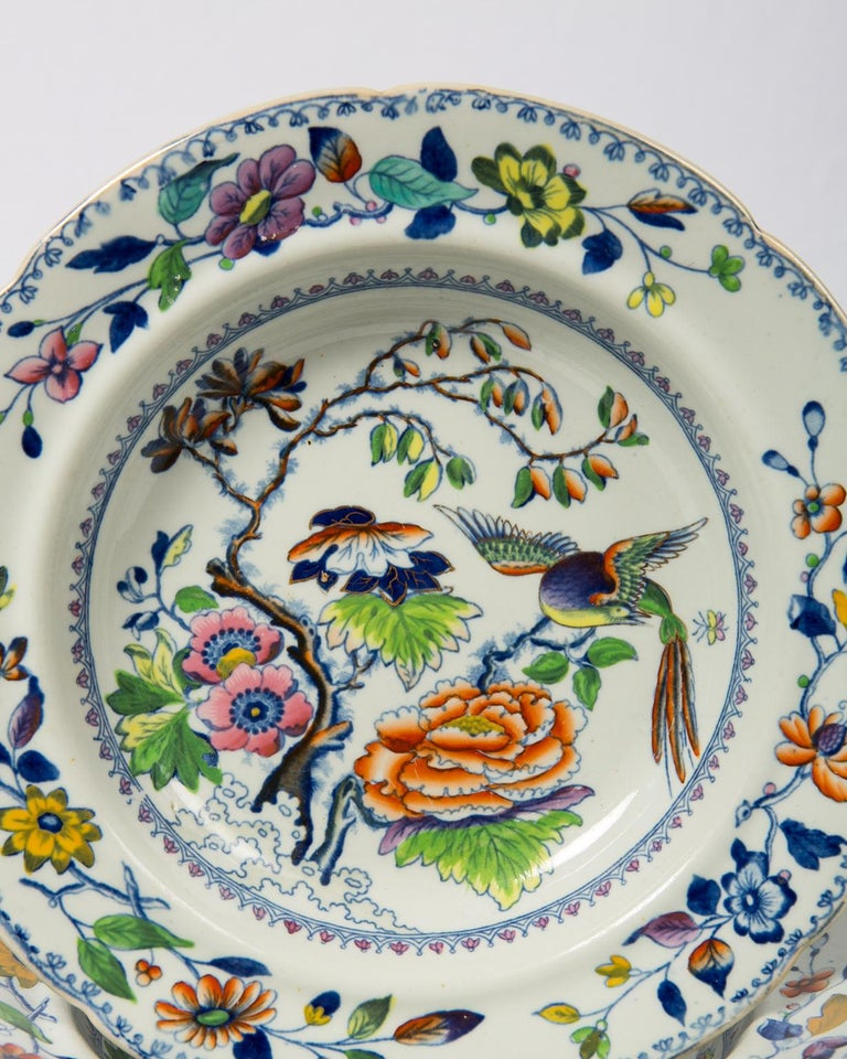 Ironstone Set of Twelve Antique Dishes Flying Bird Pattern For Sale