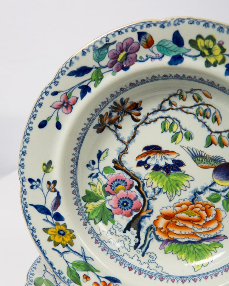 Set of Twelve Antique Dishes Flying Bird Pattern For Sale 1