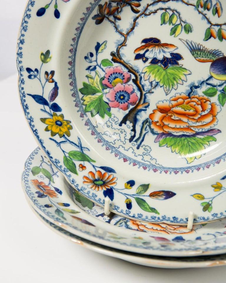 Set of Twelve Antique Dishes Flying Bird Pattern For Sale 2