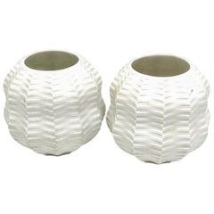 Set Two Midcentury Bisque Calabash Vases by Heinrich Fuchs for Hutschenreuther