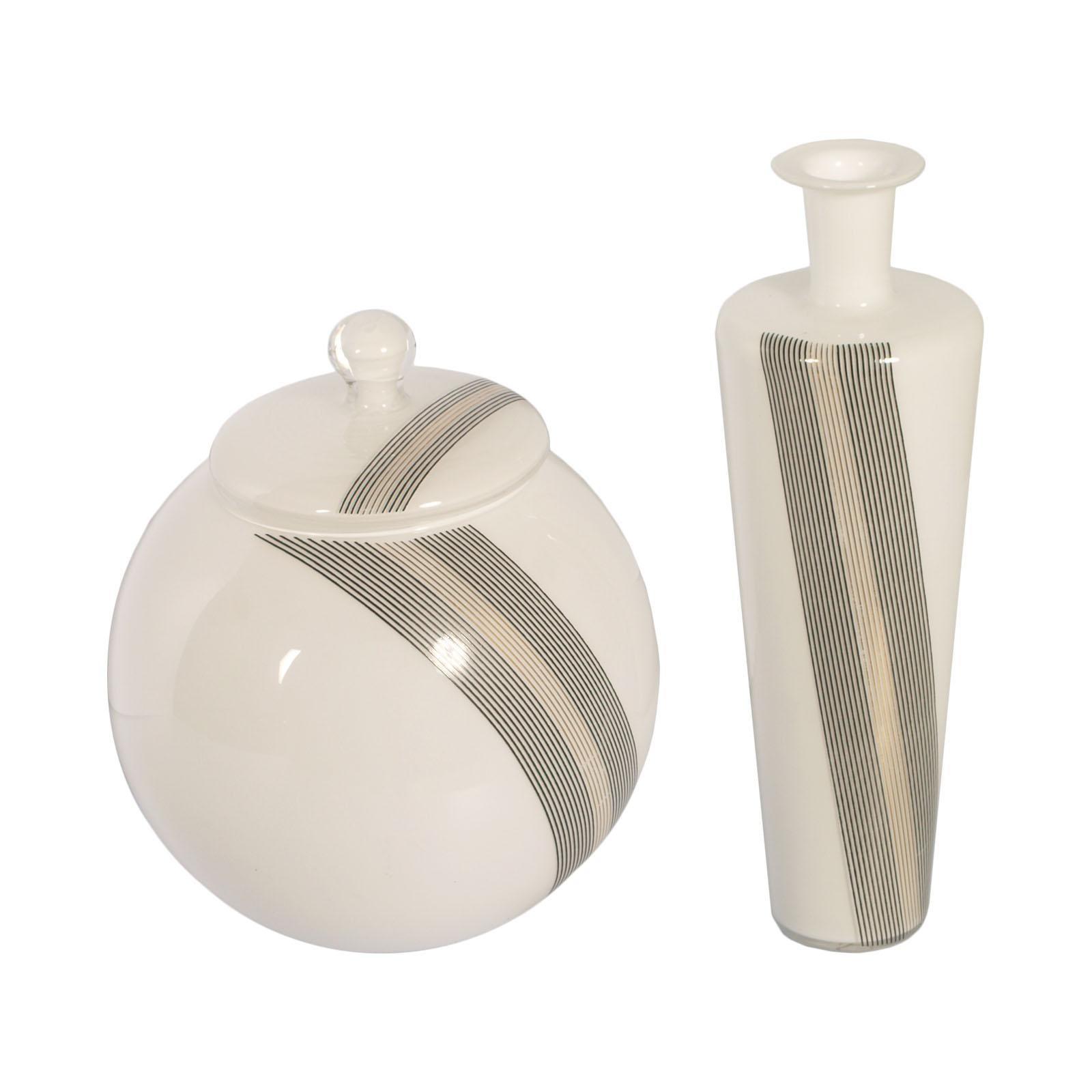 Set Vases Tapio Wirkkala for Venini attributable in blown Lattimio Murano Glass