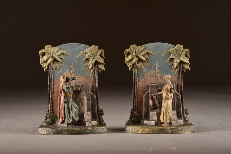 Art Nouveau Set Viennese Bronze Bookends with Oriental Figures at Water Source, Austria 1920 For Sale