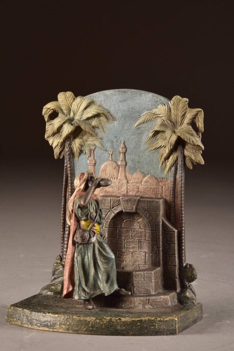 Austrian Set Viennese Bronze Bookends with Oriental Figures at Water Source, Austria 1920 For Sale