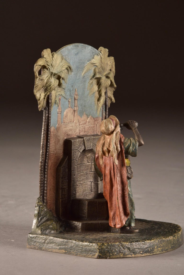 Cold-Painted Set Viennese Bronze Bookends with Oriental Figures at Water Source, Austria 1920 For Sale