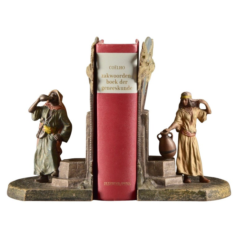 Set Viennese Bronze Bookends with Oriental Figures at Water Source, Austria 1920 For Sale