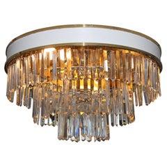 Set Vintage Brass Crystal Ceiling Lamp L.A. Riedinger, 1960