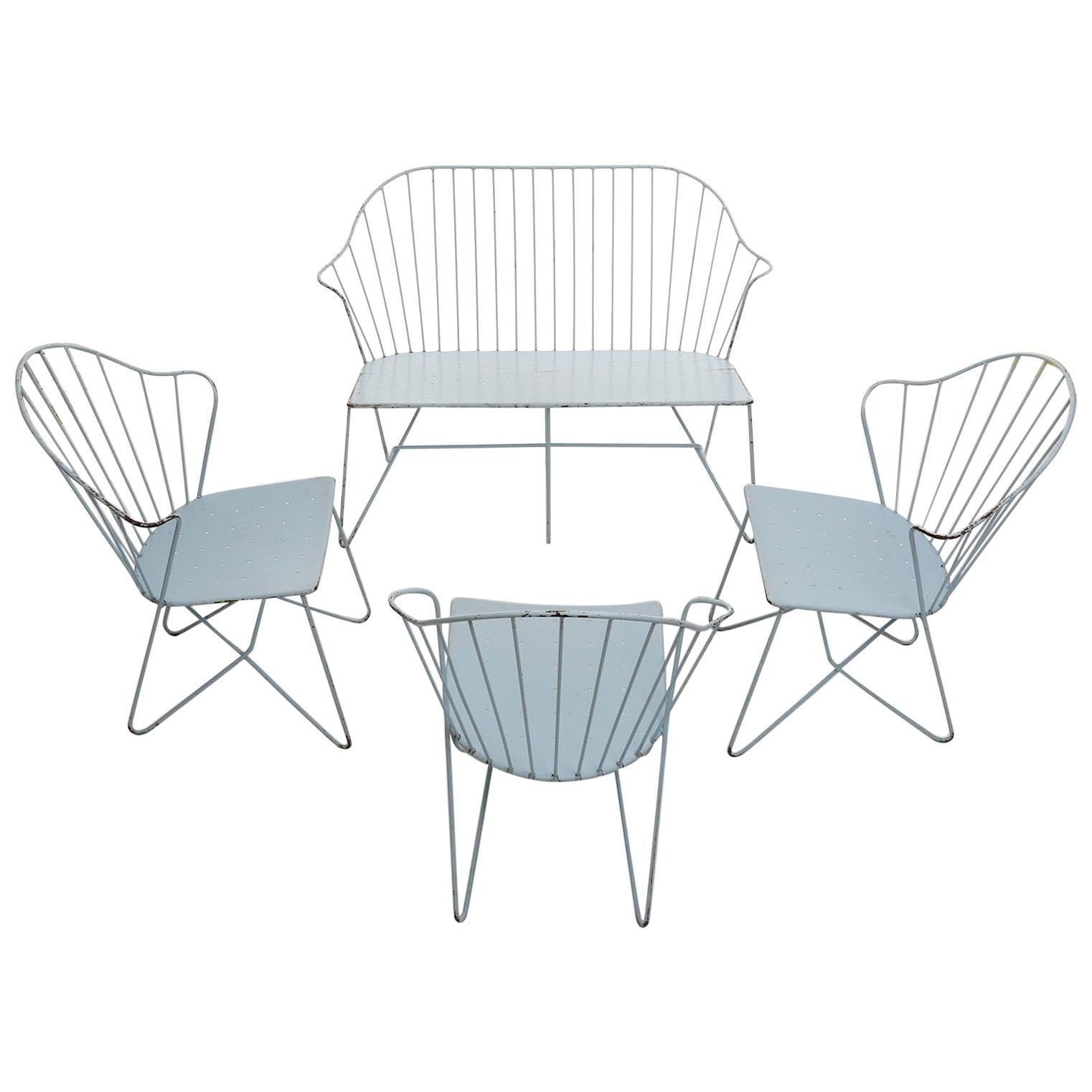 Set Wire Chairs Auersperg Bench Settee Astoria Sonett, Karl Fostel, Austria 1950