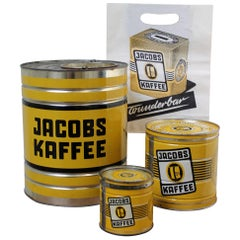 Set of Yellow Tin Boxes for Jacobs Coffee Germany, 1950s