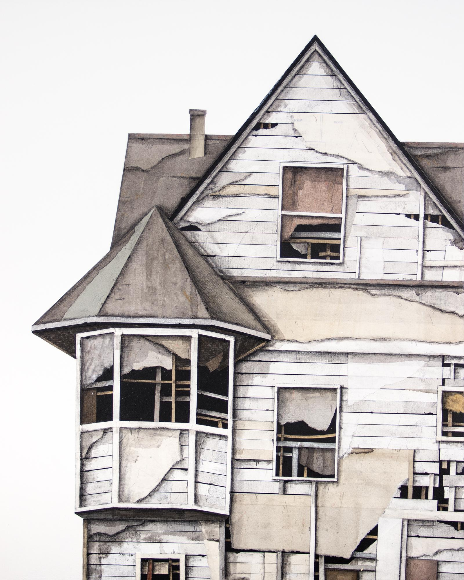 """""""House Studies Series VII"""", Layered Paper and Drawing Collage, Architectural"""