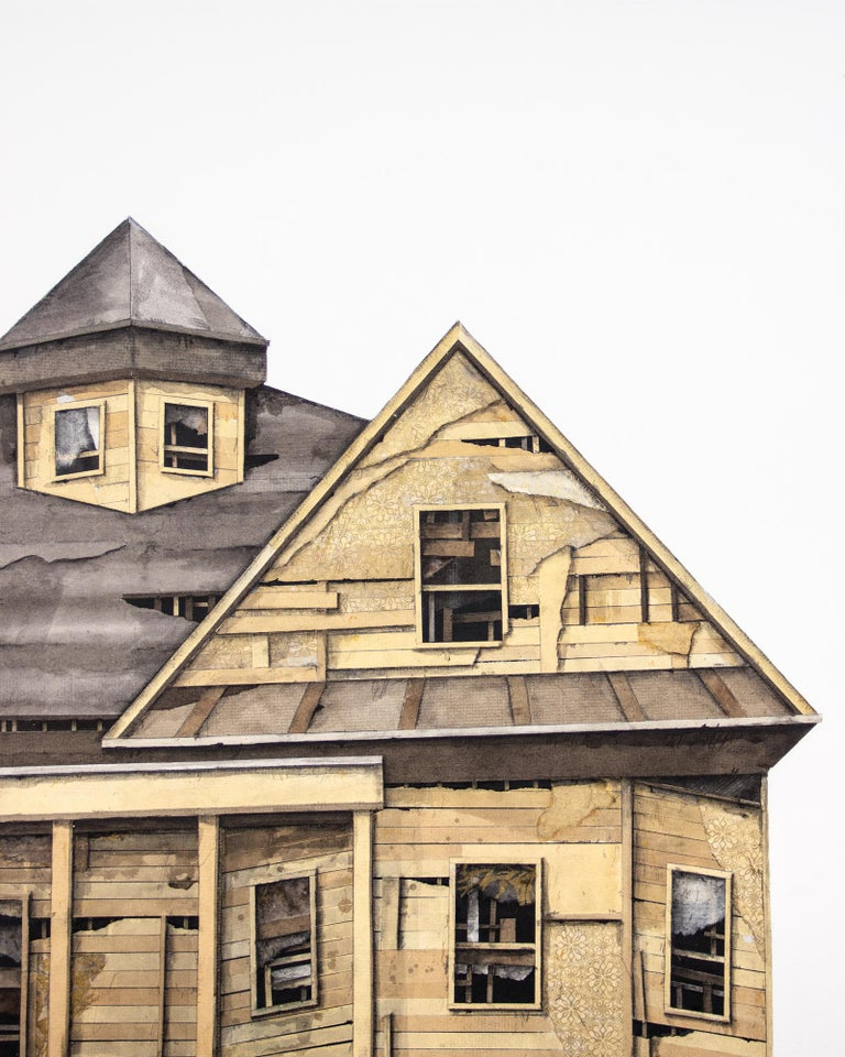 """Seth Clark Figurative Art - """"House Studies Series VIII"""", Layered Paper and Drawing Collage, Architecture"""