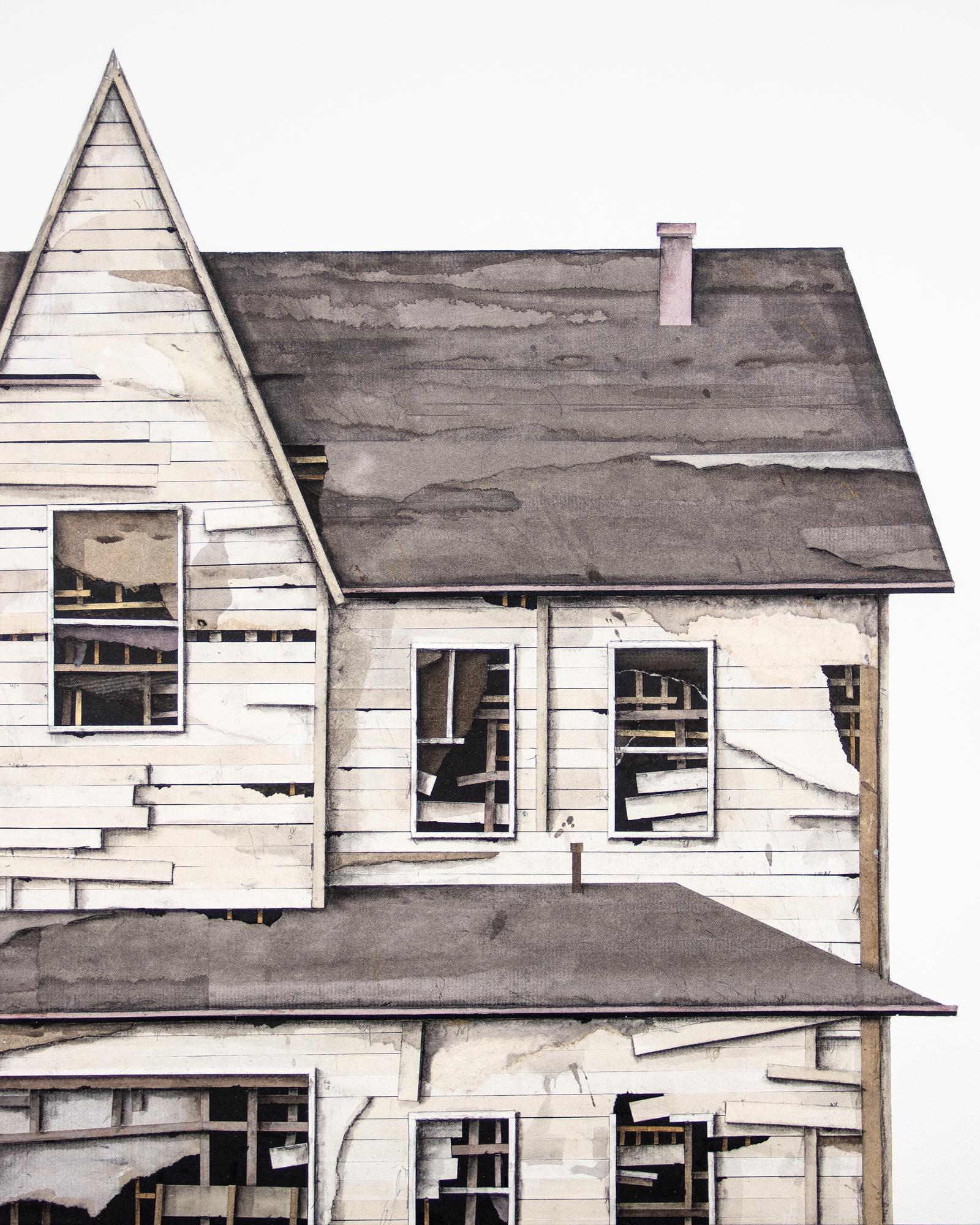 """""""House Studies Series X"""", Layered Paper and Drawing Collage, Architecture"""