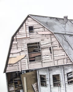 """House Studies Series II"", Layered Paper and Drawing Collage, Architecture"