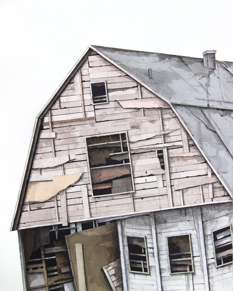 "Seth Clark Figurative Painting - ""House Studies Series II"", Layered Paper and Drawing Collage, Architecture"