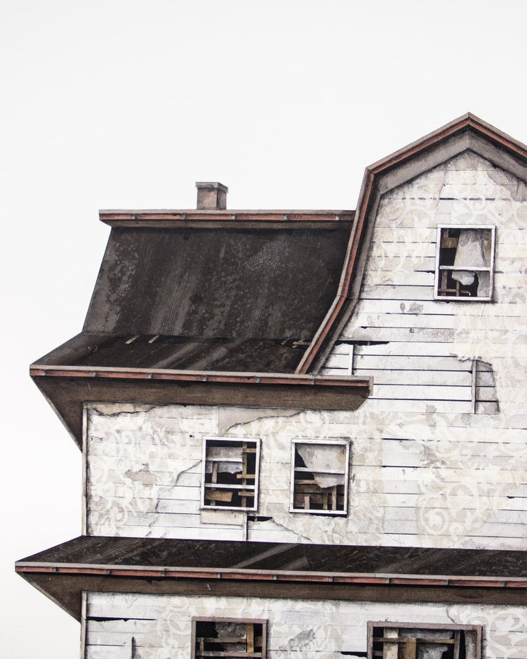 "Seth Clark Figurative Painting - ""House Studies Series V"", Layered Paper and Drawing Collage, Architectural"