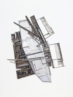 """Mass Study I"", Layered paper collage, distressed architecture, charcoal, pastel"