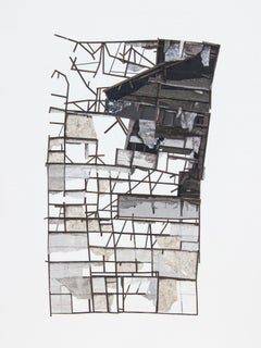 """Mass Study II"", Layered paper collage and drawing, dimensional, architectural"