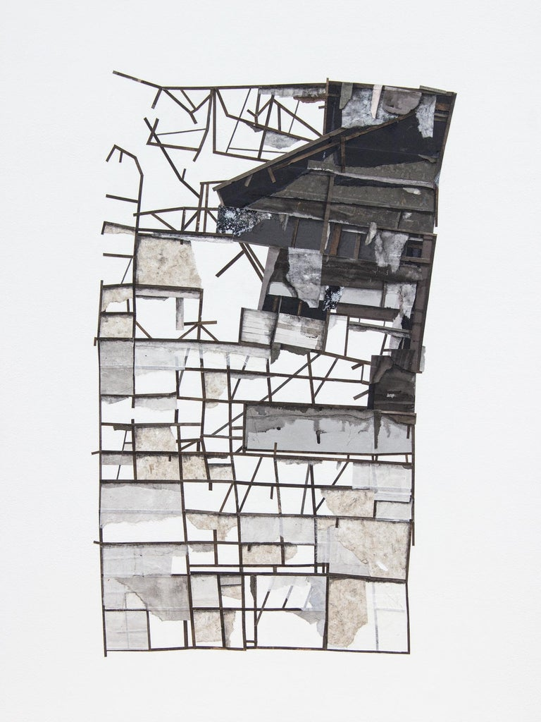 "Seth Clark Figurative Art - ""Mass Study II"", Layered paper collage and drawing, dimensional, architectural"