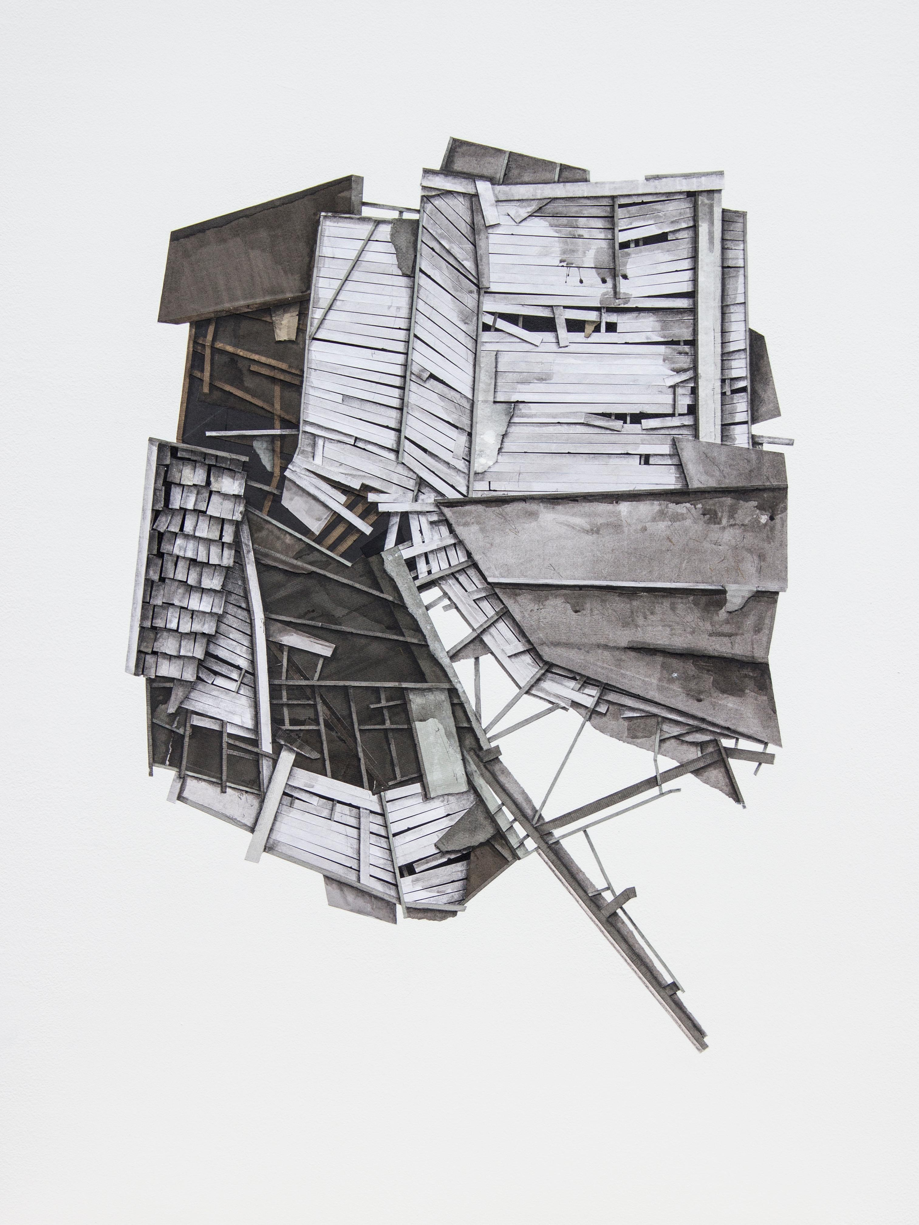"""""""Mass Study III"""", Layered paper and drawing collage, architectural, dimensional"""
