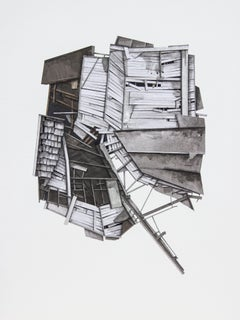 """Mass Study III"", Layered paper and drawing collage, architectural, dimensional"