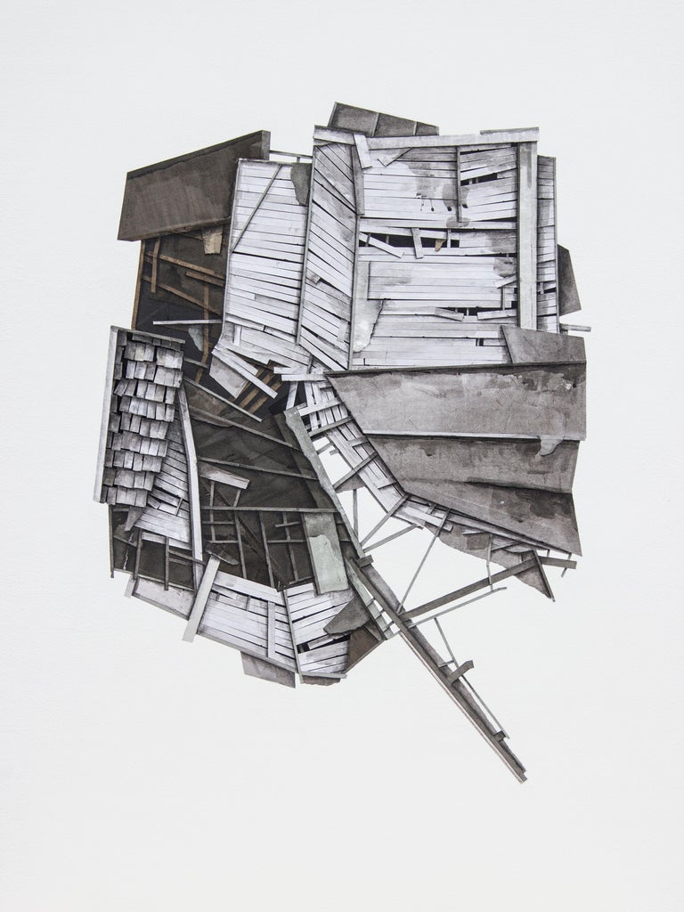"""Seth Clark Interior Painting - """"Mass Study III"""", Layered paper and drawing collage, architectural, dimensional"""