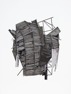 """Mass Study IV"", Layered paper and drawing collage, distressed, architecture"