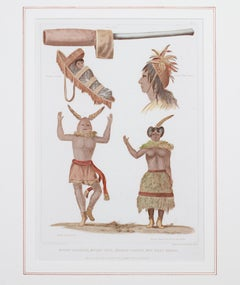 """Moqui Dancers, Moqui Pipe, Navajo Cradle & Headdress"" engraving by Seth Eastman"