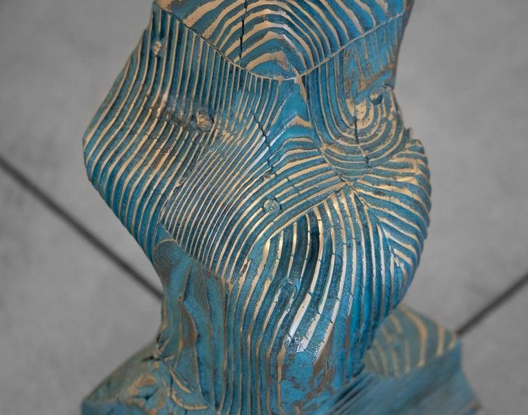 Lignum Spire - Gold Abstract Sculpture by Seth Kaufman