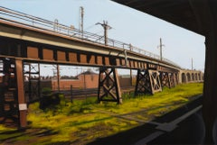 "small scale landscape, ""Newark"" (Realist Painting), oil on panel"