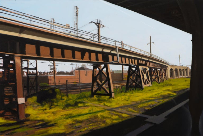 """Seth Tane Landscape Painting - small scale landscape, """"Newark"""" (Realist Painting), oil on panel"""