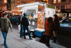 "small scale realist painting, ""Union Sqaure Halal"", night scene"