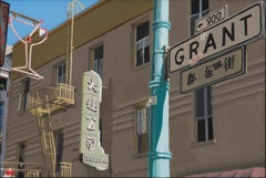 "small scale realist painting with beige and green, ""The Art Co."" San Francisco"