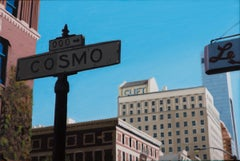 "small scale realist painting with blue, ""Cosmo, S.F."", San Francisco"