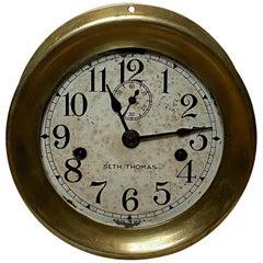 Seth Thomas Brass Ship's Engine Room Clock, circa 1920