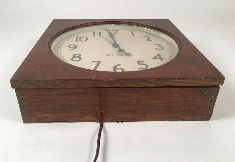 Seth Thomas Oak Electric Wall Clock At 1stdibs