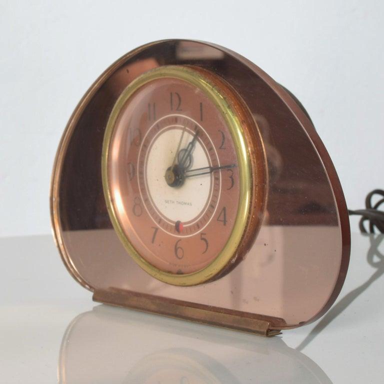 Mid-20th Century Seth Thomas Sequin Art Deco Glam Pink Copper Mirror Vanity Table Clock, 1940s
