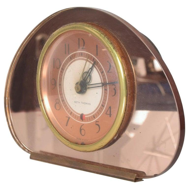 Seth Thomas Sequin Art Deco Glam Pink Copper Mirror Vanity Table Clock, 1940s