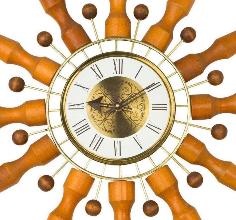 American Seth Thomas Sunburst Clock, circa 1950 For Sale