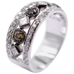Sethi Couture 0.85 Carat Multi-Color Diamond Deco Band in 18 Karat White Gold