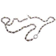 Sethi Couture 10.66 Carat Multicolored Diamond Necklace in 18 Karat White Gold