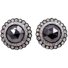 Sethi Couture 18 Karat White Gold Black Diamond and White Diamond Stud Earrings